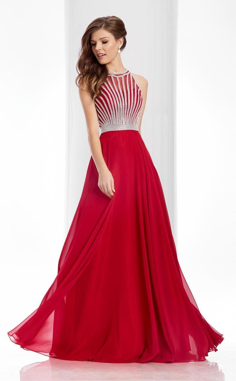 Clarisse - 3068 Radiating Stripe Illusion Gown in Red
