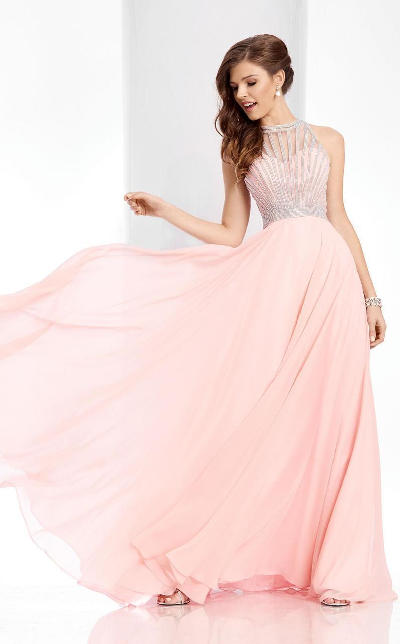 Clarisse - 3068 Radiating Stripe Illusion Gown in Pink