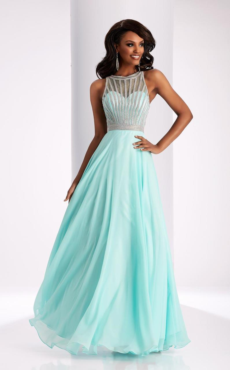 Clarisse - 3068 Radiating Stripe Illusion Gown in Blue and Green