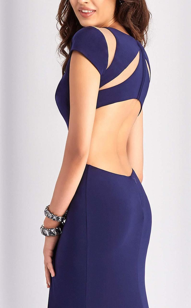 Clarisse - 3089 Sheer Cutout Evening Gown in Blue