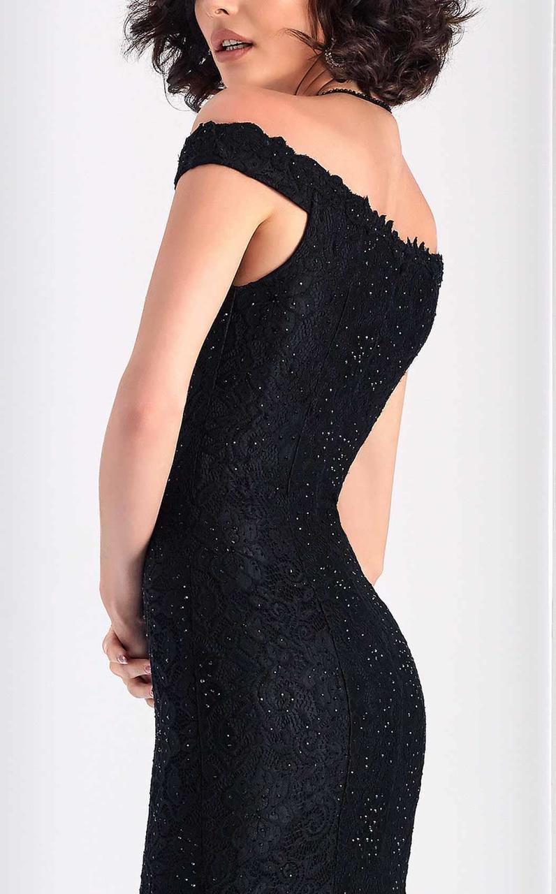 Clarisse - s4801 Lace Plunging Off-Shoulder Dress in Black