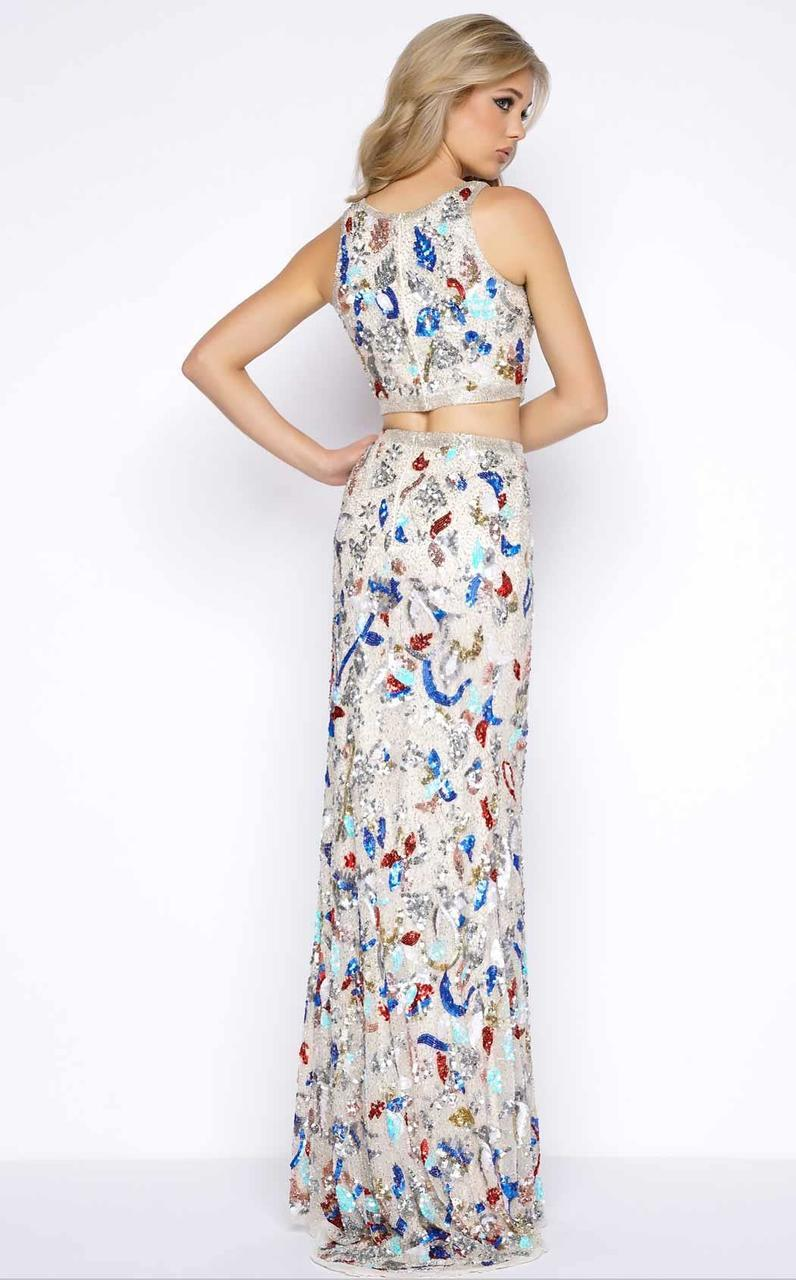 Cassandra Stone - 1062A Abstract Floral Sequined Gown Special Occasion Dress