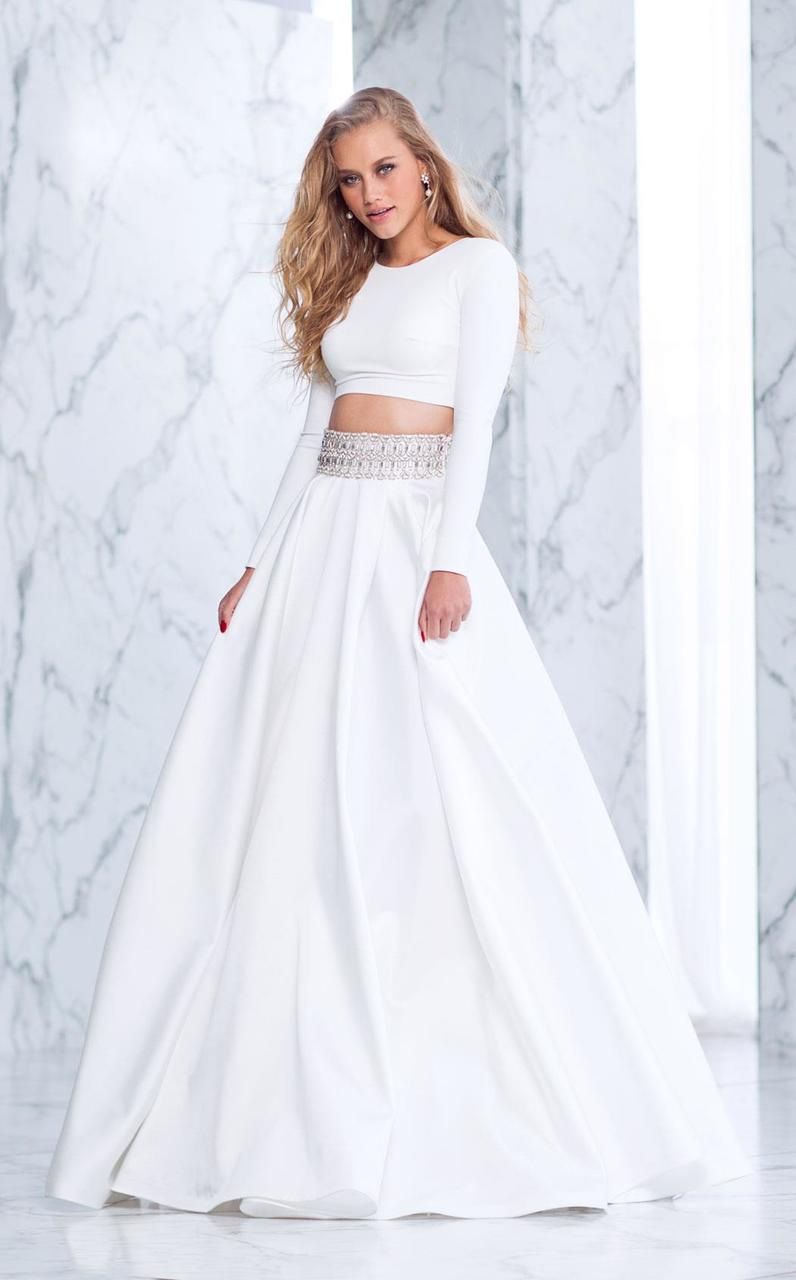 Tarik Ediz - Two-Piece A-line Dress 50052 in White