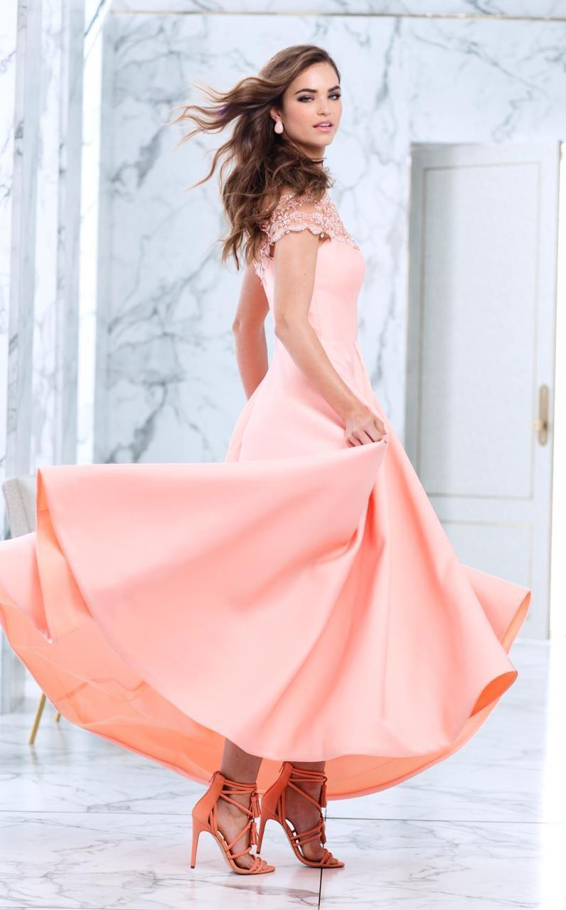 50063 Off The Shoulder A-line Dress in Peach Nectar
