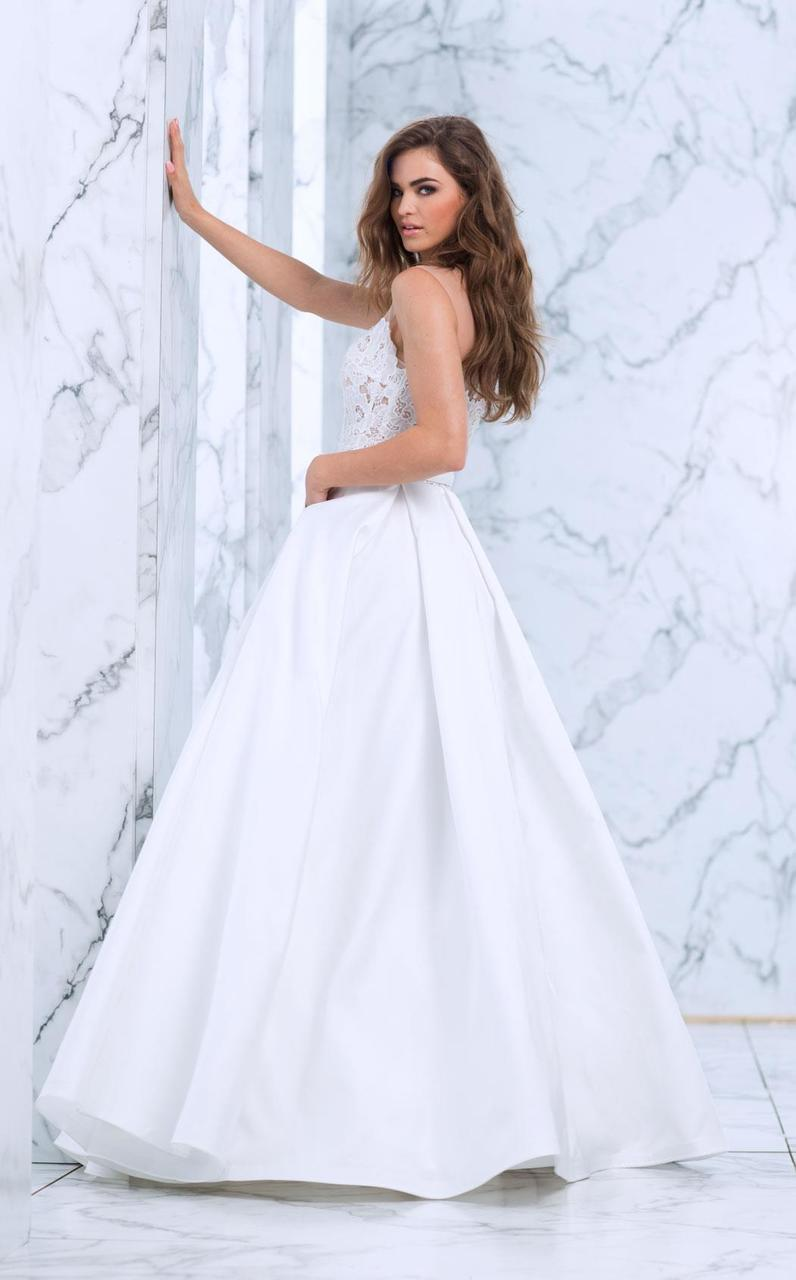 Tarik Ediz - Lace Illusion Neck A-Line Gown 50072 in White