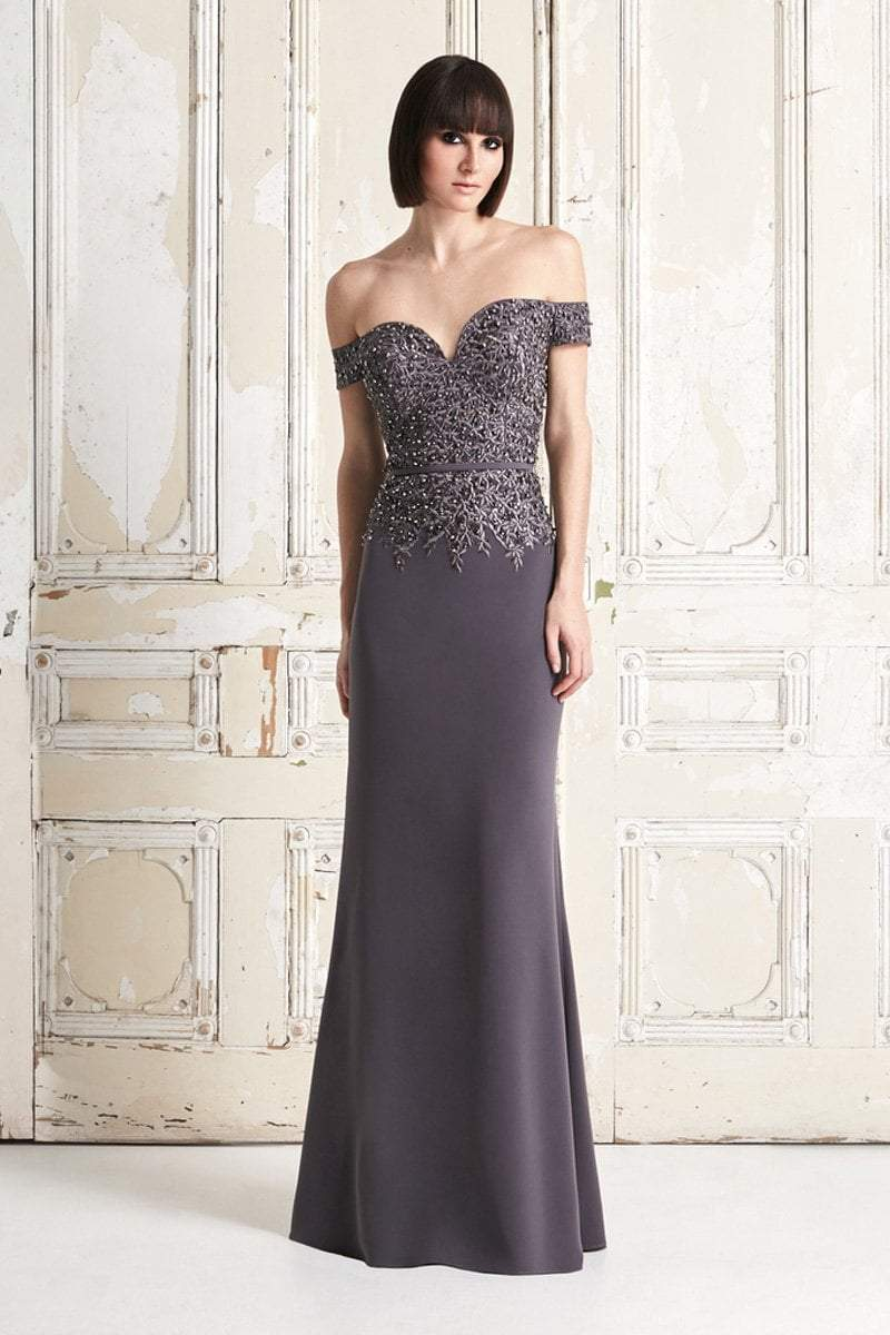 Alexander by Daymor - Jeweled Embroidered Lace Off Shoulder Gown 759  In Gray