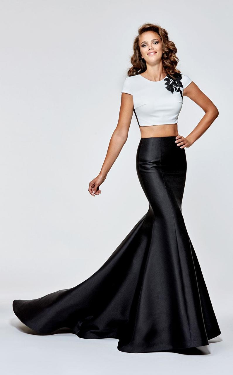 Tarik Ediz - 93113 Short Sleeve Contrast Mermaid Gown In Black and White