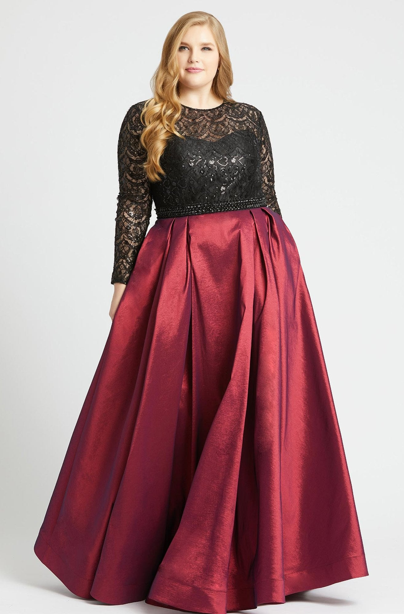 Mac Duggal - 77473F Sequined Lace Long Sleeve Satin Ballgown in Black and Red