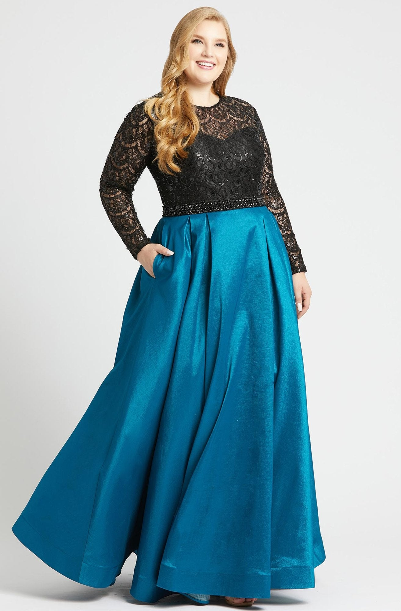 Mac Duggal - 77473F Sequined Lace Long Sleeve Satin Ballgown in Black and Green