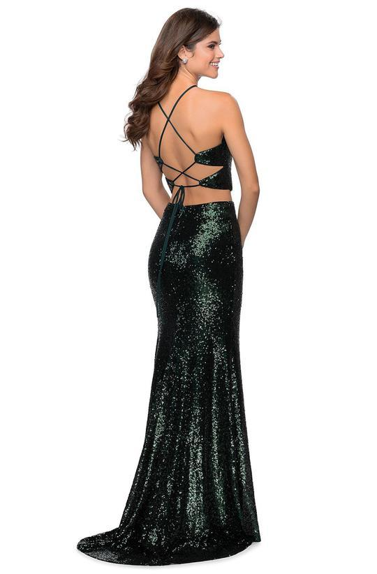 La Femme - 28623SC Halter Strap Sequined High Slit Dress
