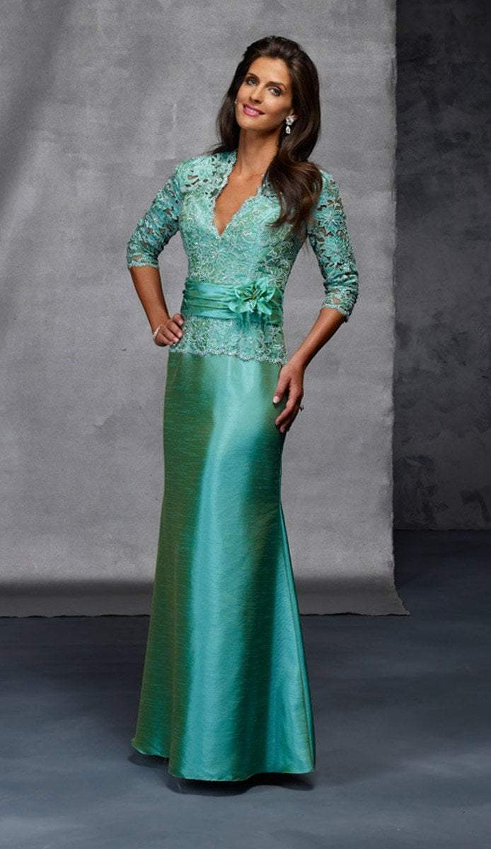 Alyce Paris Black Label - 29143 Classy Lace V Neck Mermaid Gown in Green