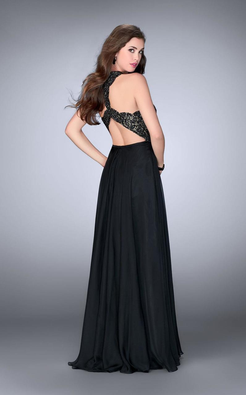La Femme - Lace Detail Halter Top Chiffon Long Prom Dress 23975 In Black