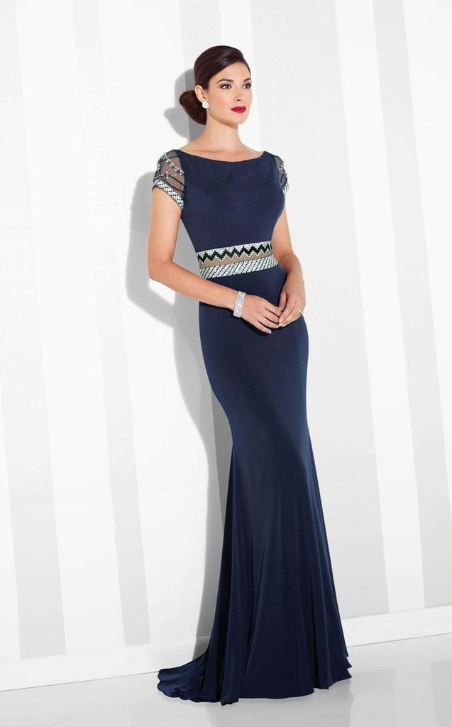 Mon Cheri - Patterned Beaded Illusion Sheath Evening Dress 117624 In Blue