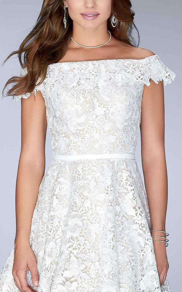 La Femme Off Shoulder Floral Lace A-Line Dress 23361  In White