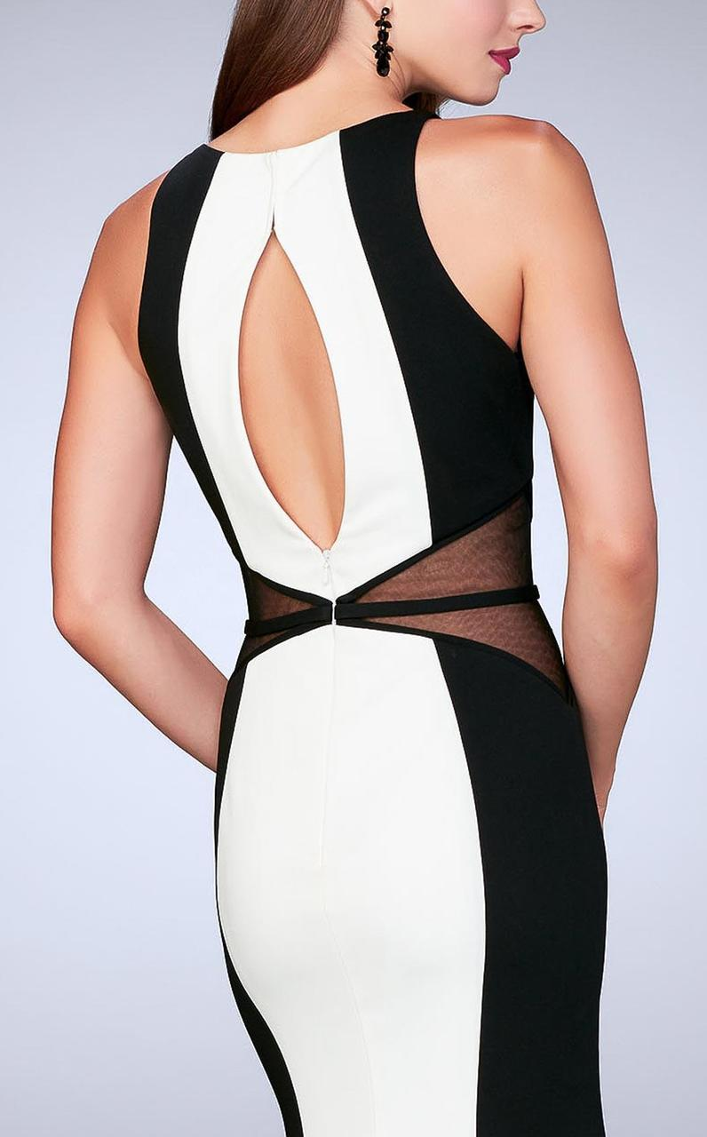 La Femme - Daring Contrast Illusion Sleeveless High Neck Jersey Gown 23711 In White and Black