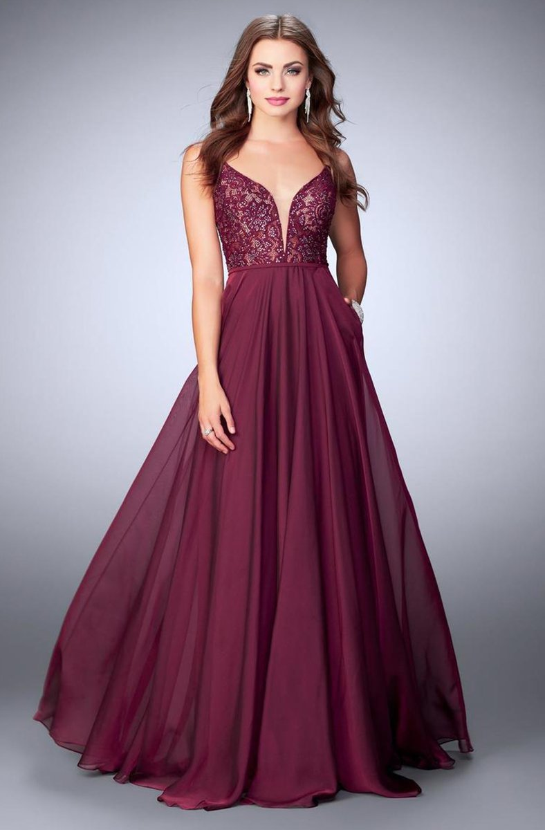 La Femme - Deep Sweetheart Long Lace Evening Gown 23964 In Red