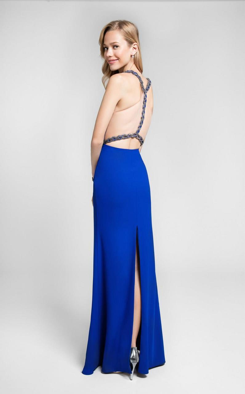 Terani Couture - Deep V-neckline Illusion Chain Beaded Prom Dress 1711P2350 In Blue