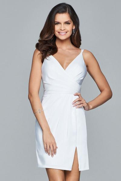 Faviana Fitted V-Neck Draped Cocktail Dress 7850 in White