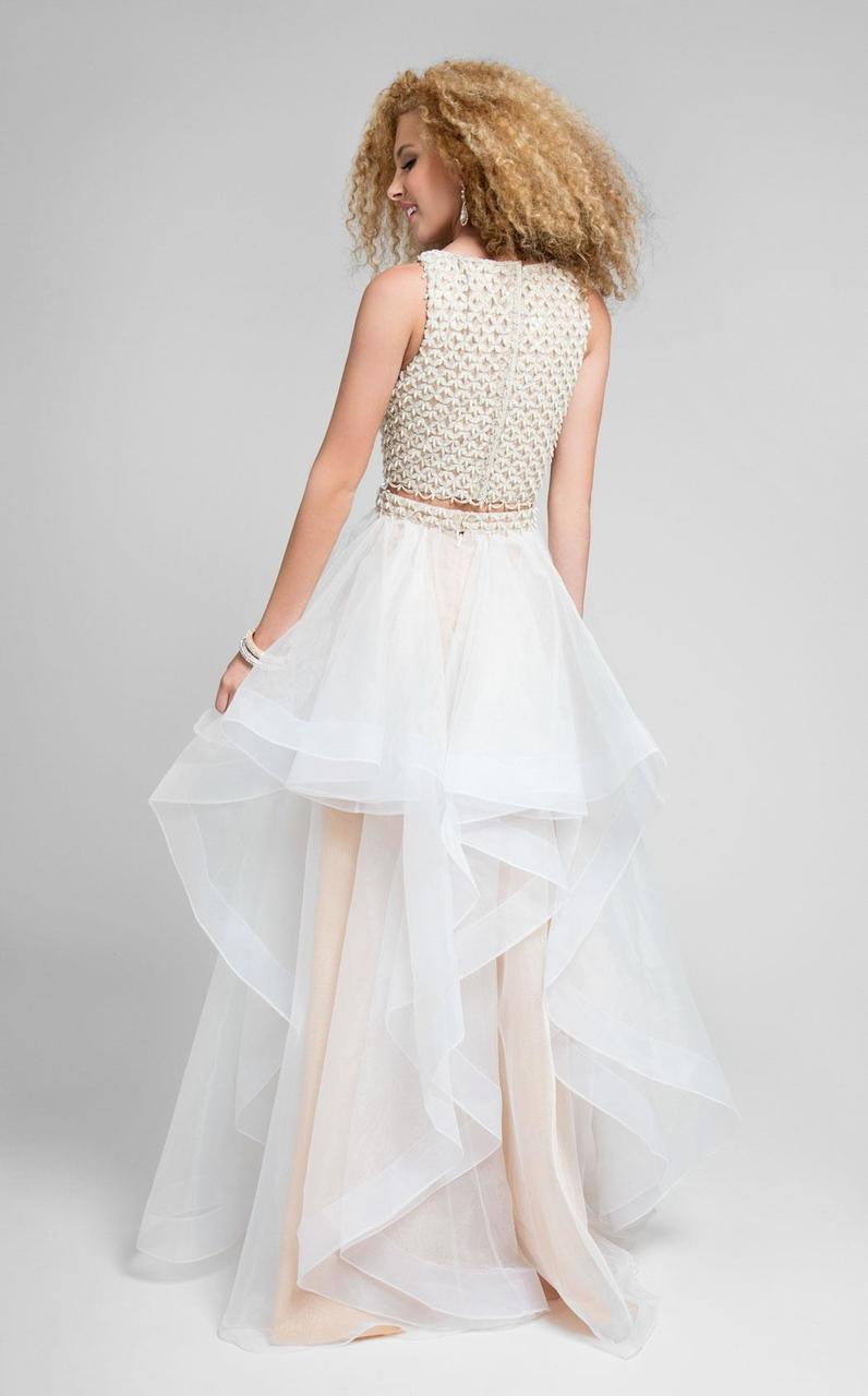 Terani Couture - Crochet-inspired Bateau Neck Two-piece A-line Dress 1711P2688 In Neutral