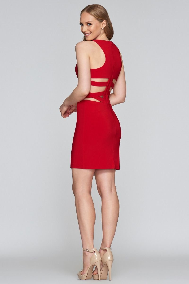 Faviana - Scoop Neck Cocktail Dress with Side Cut Out 7853SC