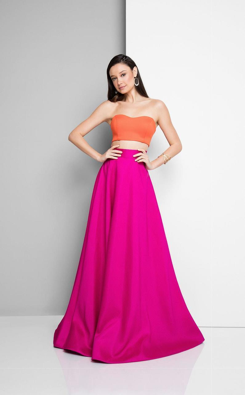 Terani Couture - Vibrant Two Piece Gown 1712P2741 In Pink and Orange