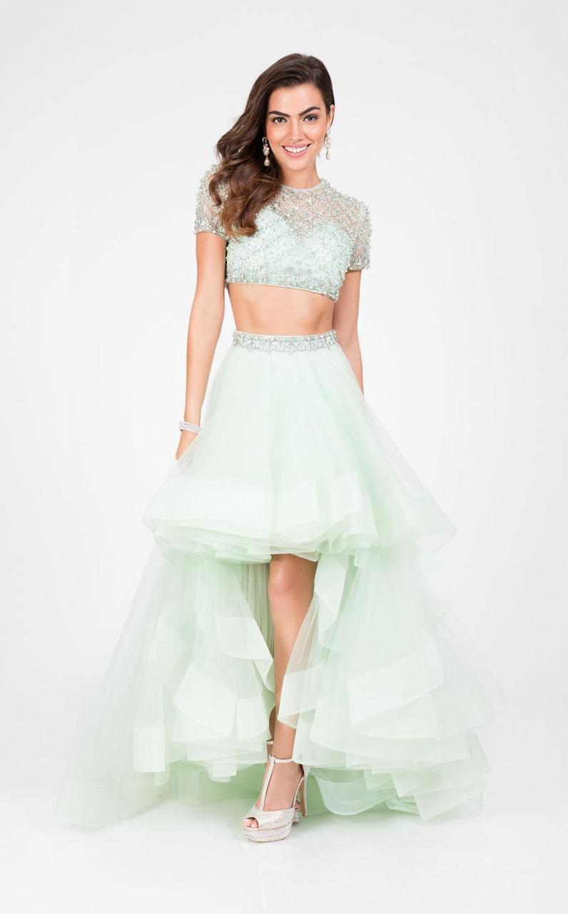 Terani Couture - Elegant Two Piece Short Sleeve Hi-low Gown 1712P2743 In Green