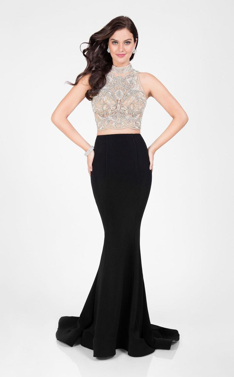 Terani Couture - Sparkly Two-piece Mermaid Gown 1712P2753 In Black and Neutral