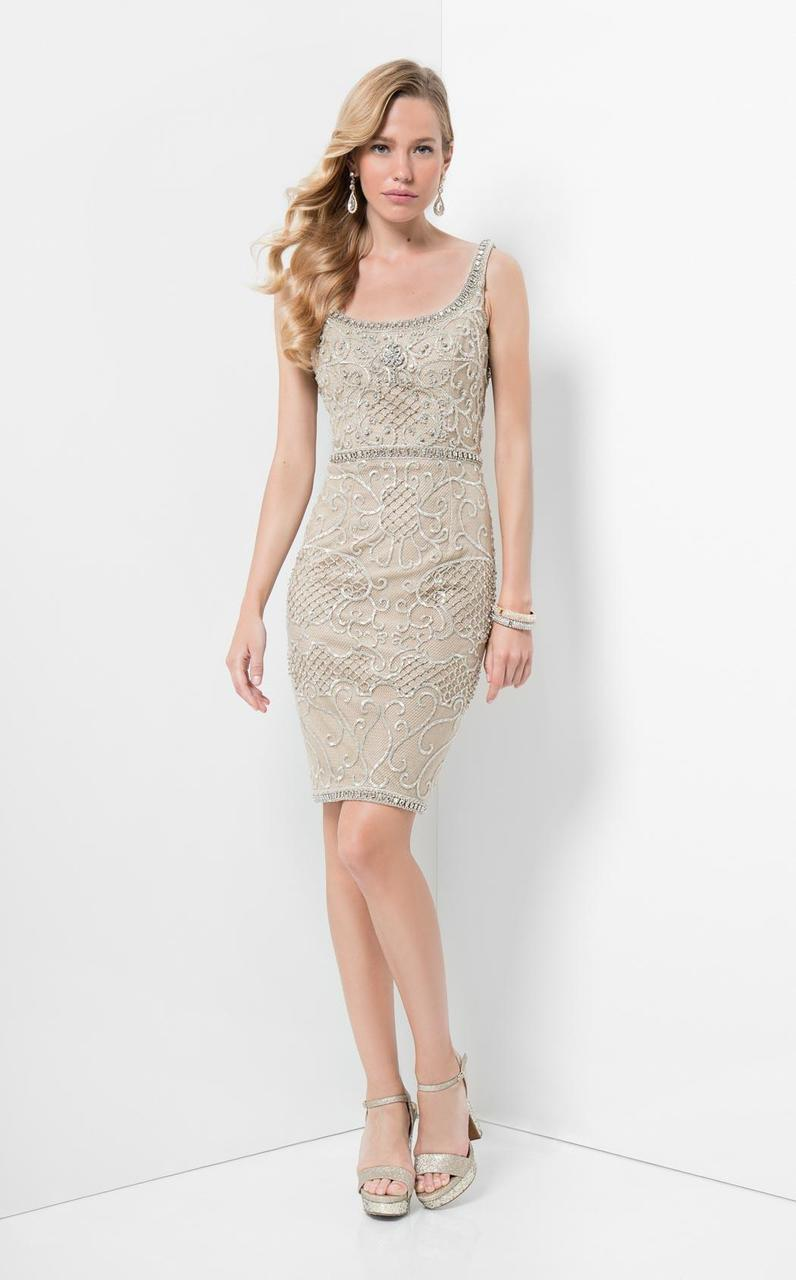 Terani Couture - Beaded Embroidery Bateau Neckline Short Evening Dress 1711C3023 In Neutral