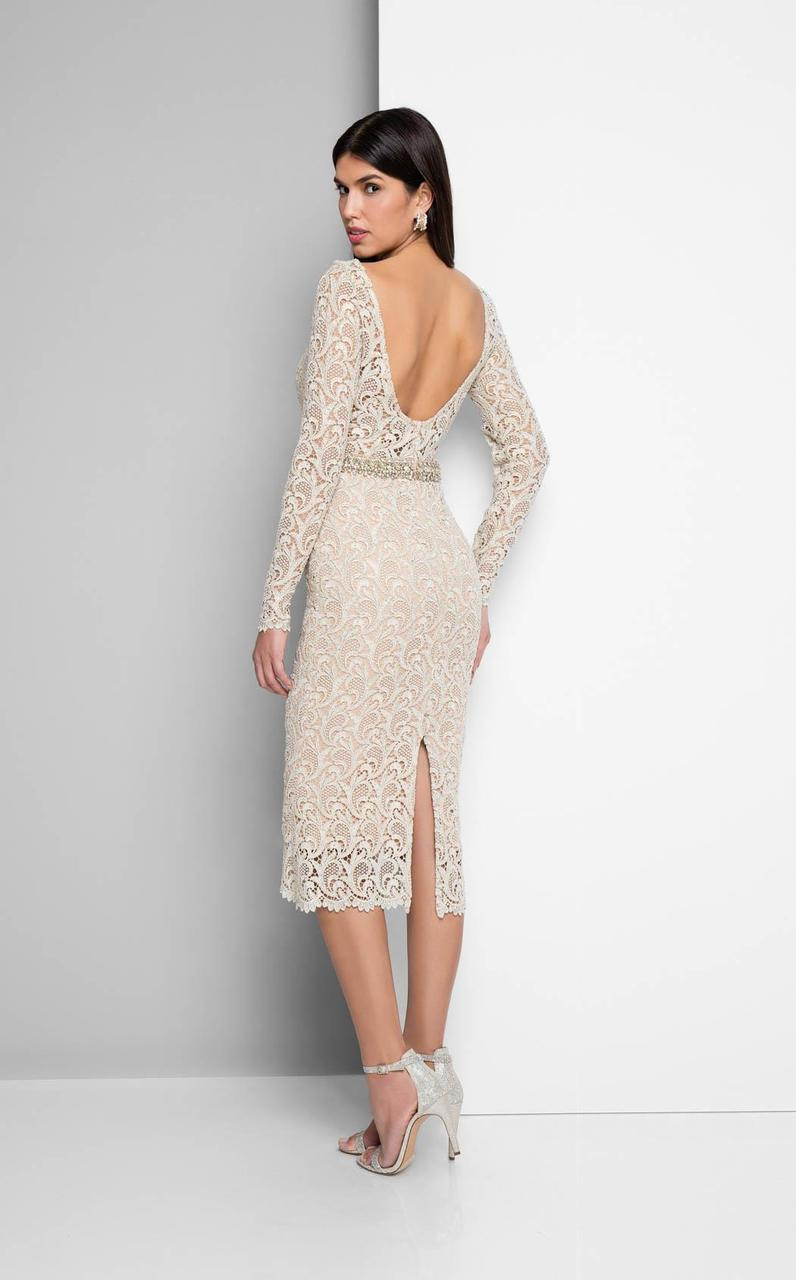 Terani Couture - Long-sleeve Scoop-back Cocktail Dress 1712C3054 - In Neutral