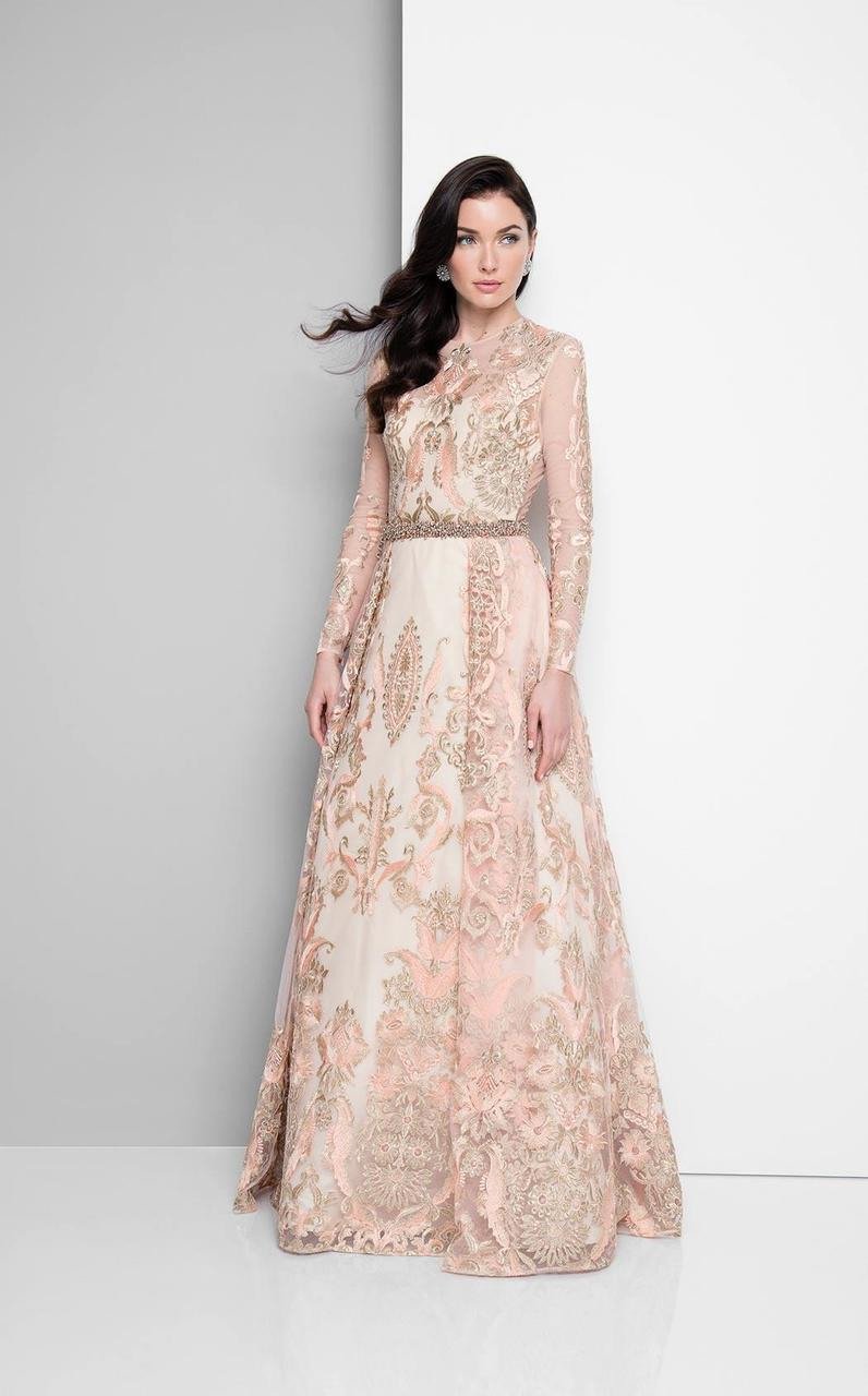 Terani Couture - Metallic Appliqued Illusion Gown 1712E3652 In Pink and Gold