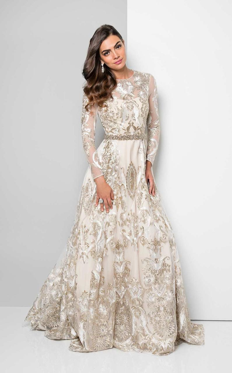 Terani Couture - Metallic Appliqued Illusion Gown 1712E3652 In White and Gold