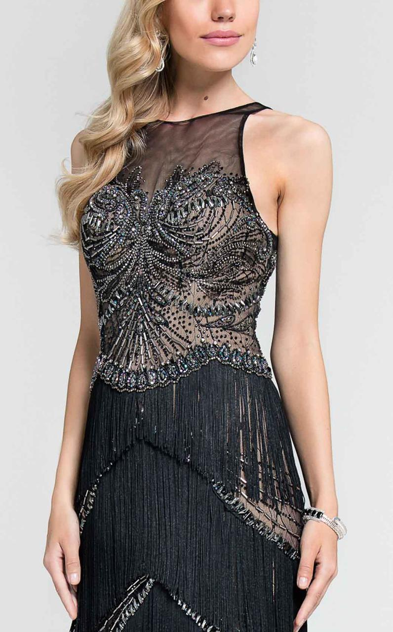 Terani Couture - Fringed Illusion Gown 1712GL3560 in Black
