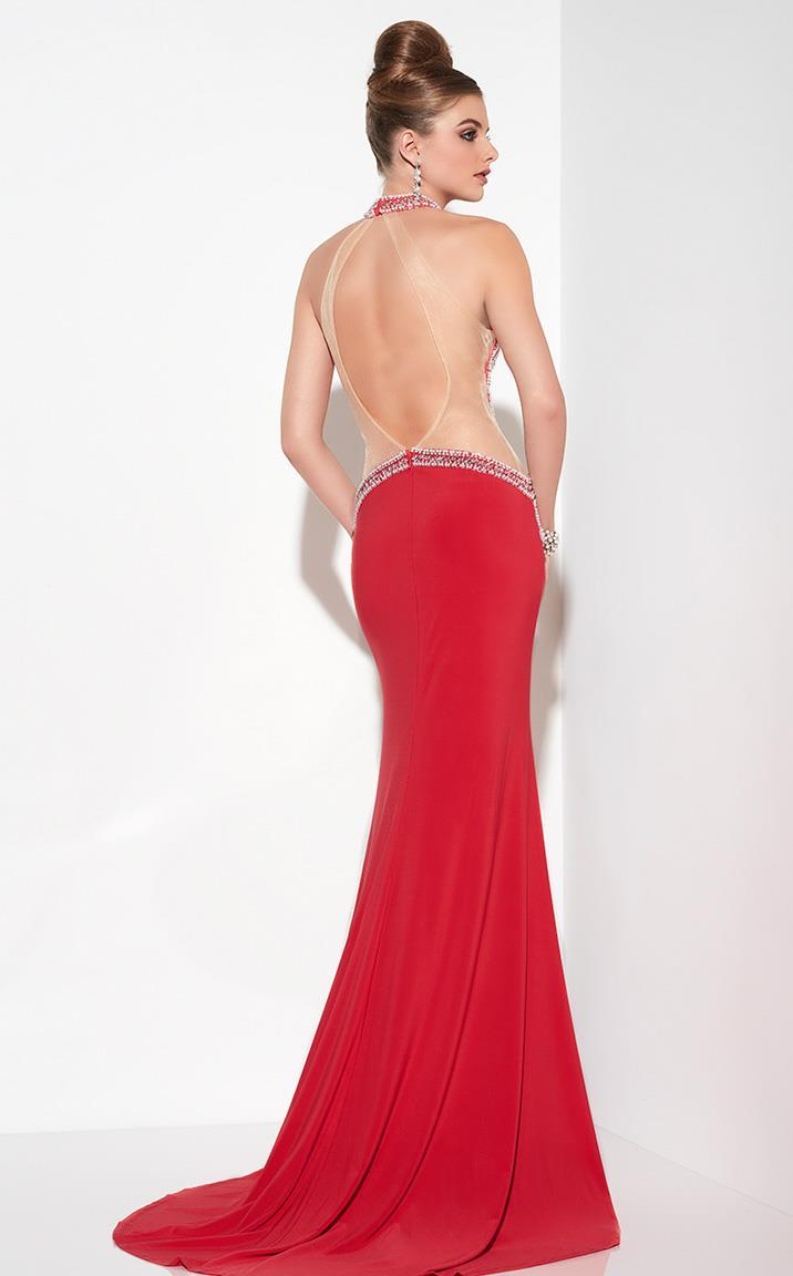 Panoply - Rhinestone-encrusted Halter Neck Jersey Trumpet Dress 14794 In Red