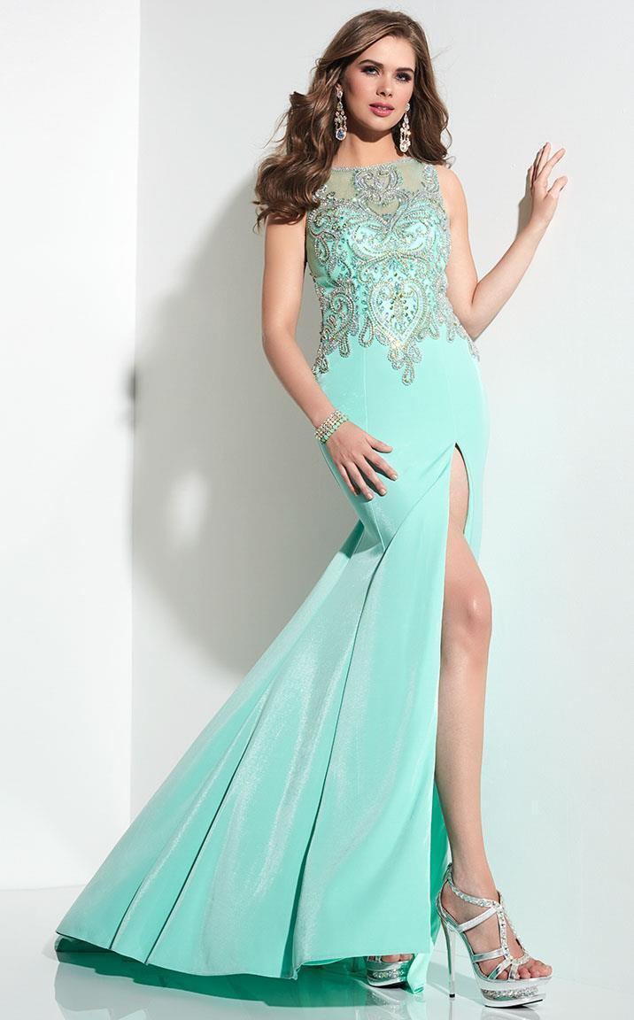 Panoply - Stunning Illusion Metallic Lace Applique Trumpet Gown 14798 in Green