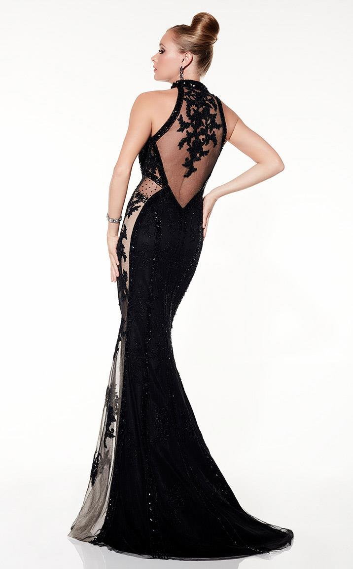 Panoply - 14846 Sequined and Illusion Evening Gown in Black and Neutral