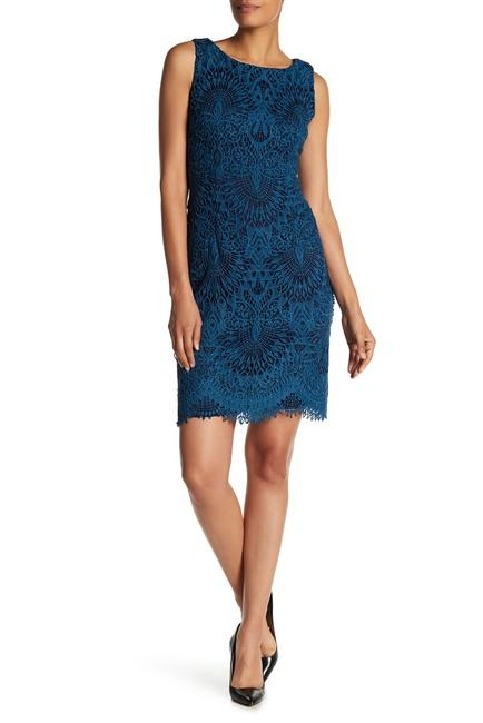 Chetta B - B1716898 Crochet Lace Sheath Cocktail Dress In Green and Blue