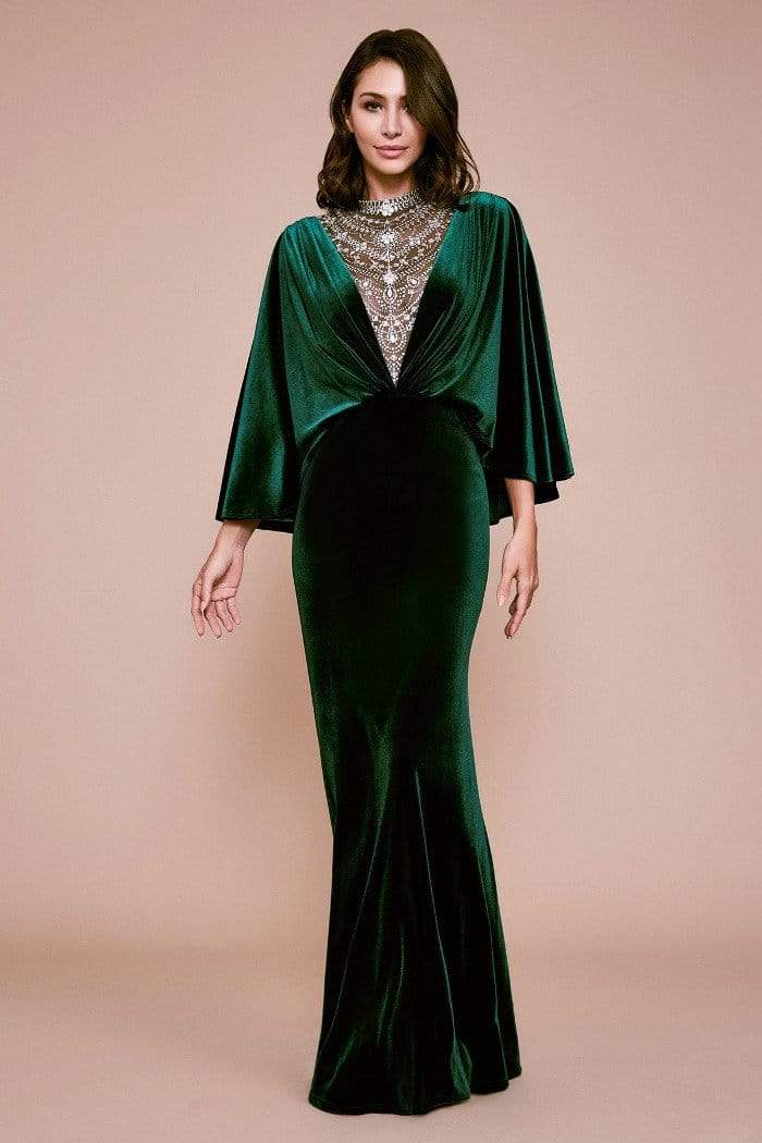 Tadashi Shoji - Beaded Illusion Plunging V Neck Capelet Gown In Green