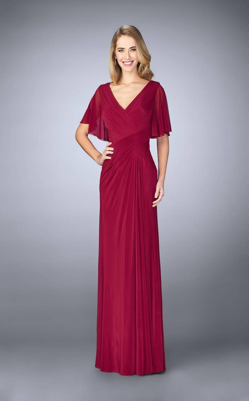 La Femme - Ruched V Neck Criss Cross Waist Flutter Sleeves Gown 23160 in Red