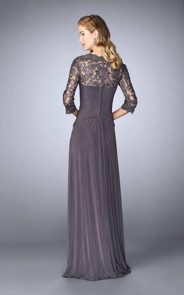 La Femme - Lace Embroidered V-Neck Evening Dress 23244 In Gray