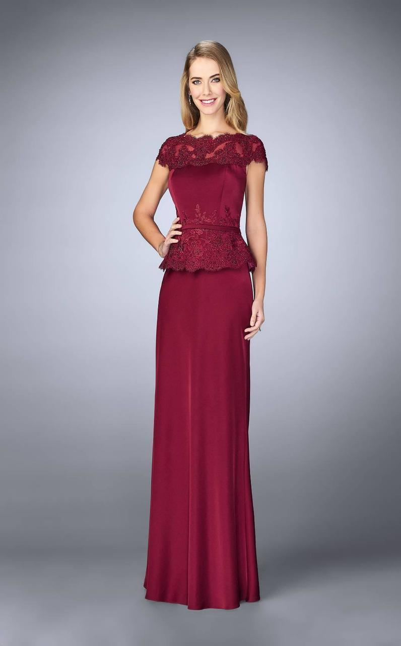 La Femme - Bateau Neck Festooned Peplum Evening Gown 23444 in Red