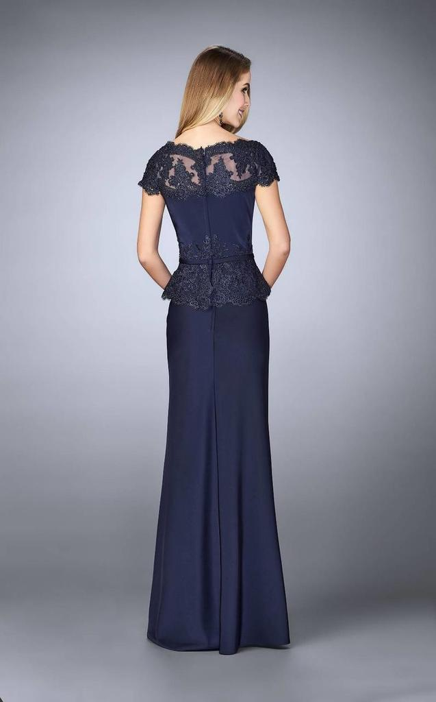 La Femme - 23444SC Lace Appliqued Embellished Bateau Sheath Dress