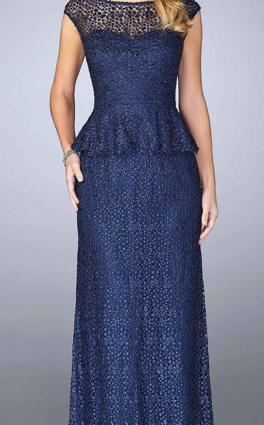 La Femme - 24896SC Beaded Lace Peplum Sheath Dress