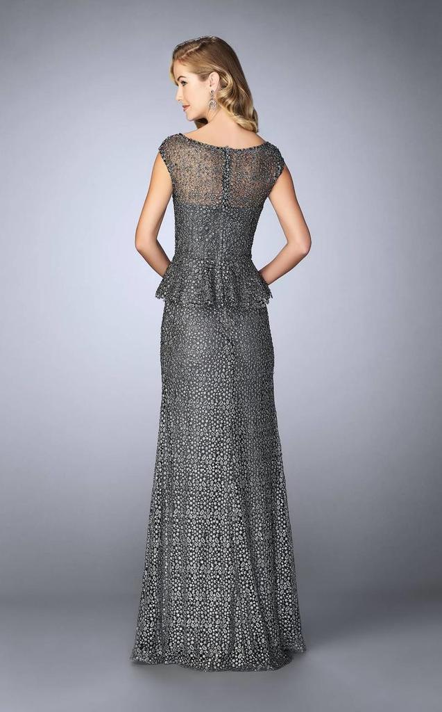 La Femme - Beaded Lace Cap Sleeve Peplum Evening Gown 24896 In Gray
