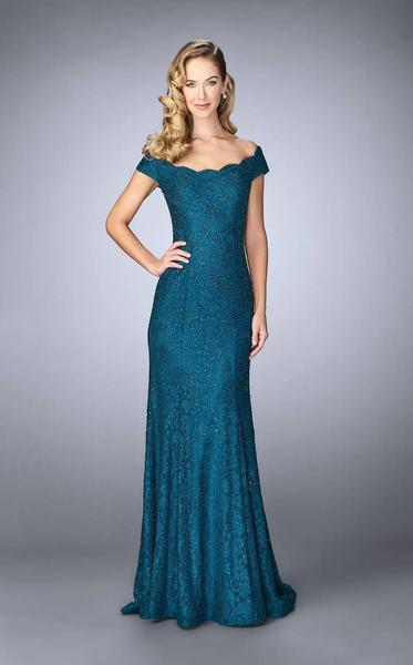 La Femme - Off-Shoulder Lace Evening Gown 24928 In Green