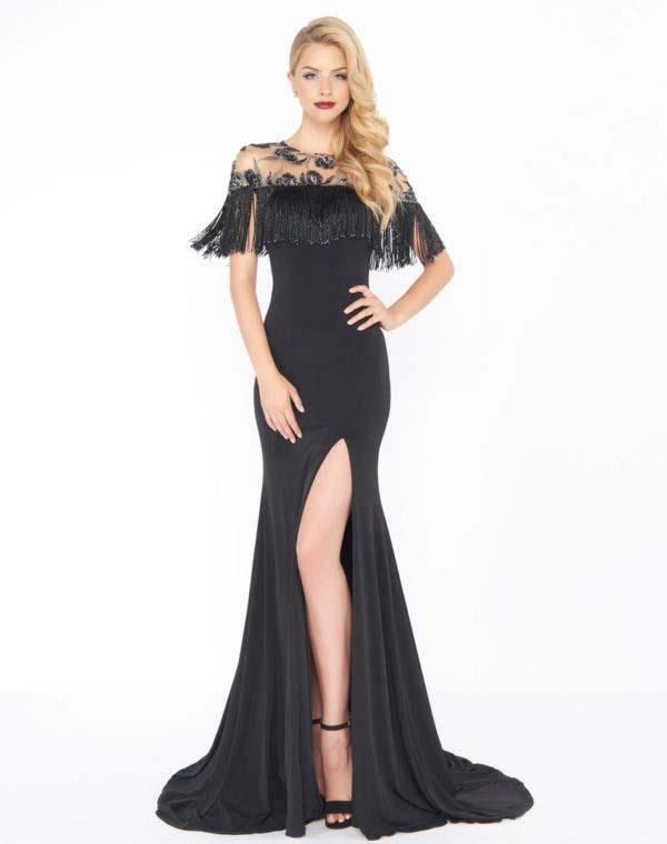 Mac Duggal - 79168R Beaded and Fringe Accented Trumpet Dress In Black