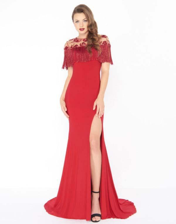 Mac Duggal - 79168R Beaded and Fringe Accented Trumpet Dress In Red