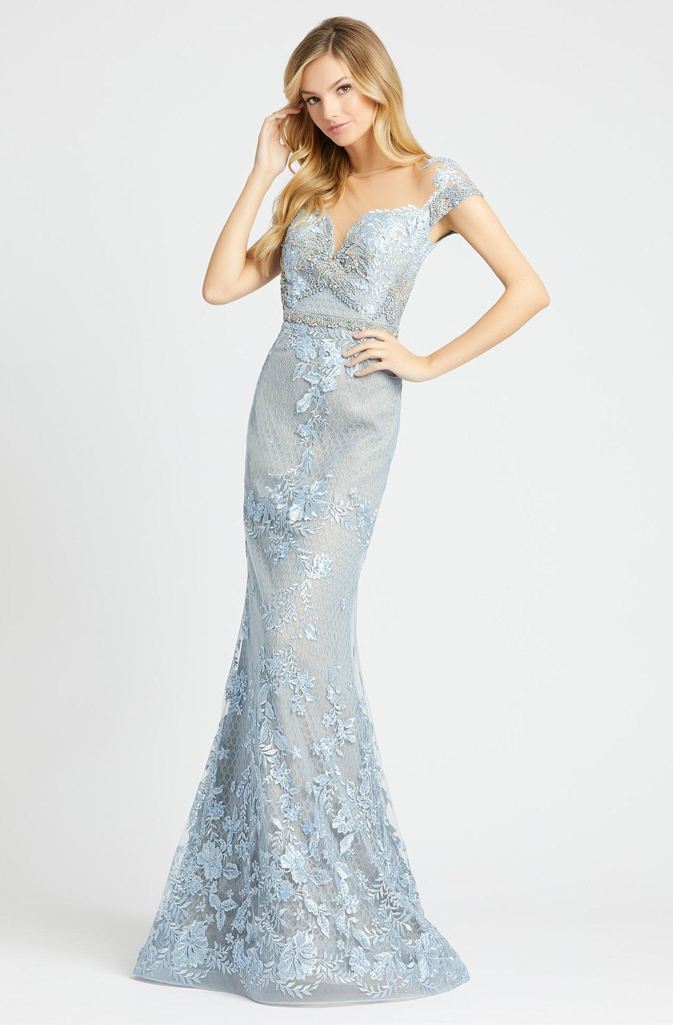 Mac Duggal - 79182D Bead and Lace Embellished Sheath Dress In Blue