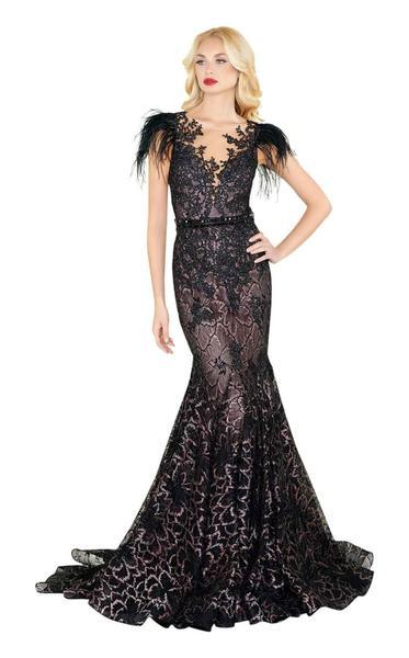 Mac Duggal - Feathered Lace Mermaid Gown 79230R In Black