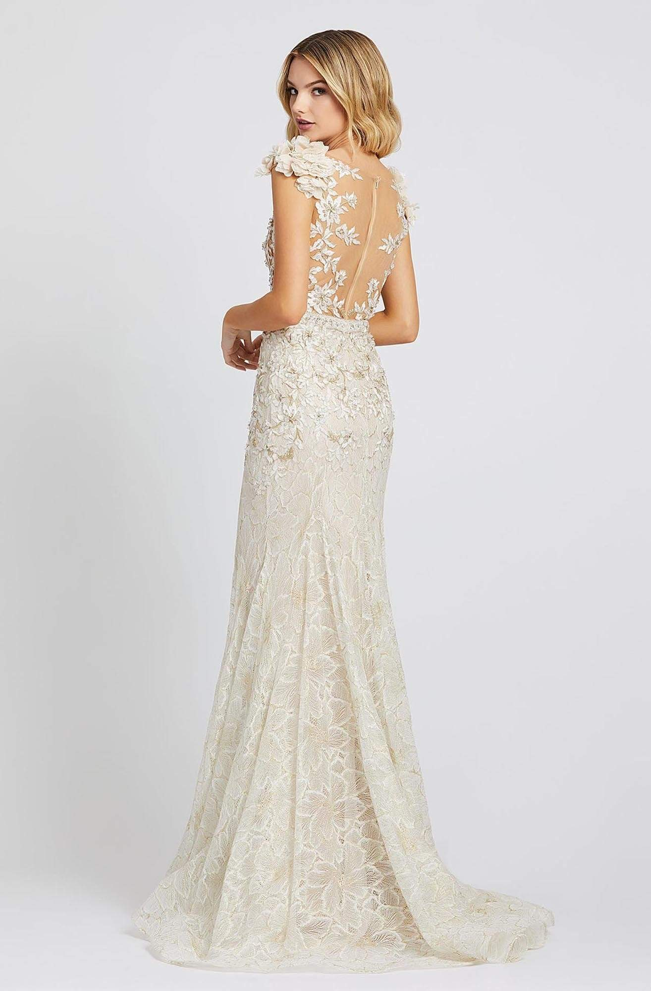 Mac Duggal Prom - 79268M Floral Long Trumpet Dress In White and Neutral