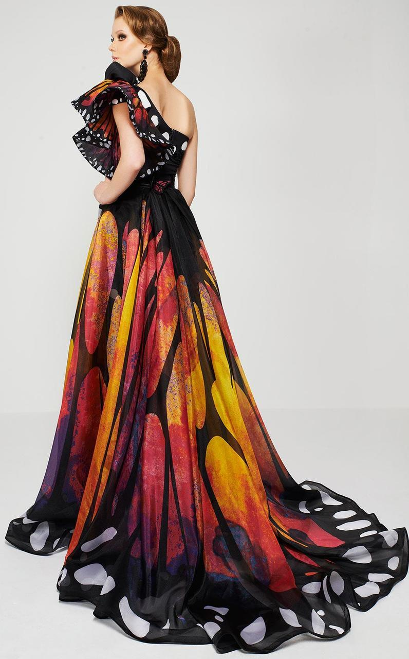 MNM Couture - 2381 Empress Elegance Asymmetrical Evening Gown in Multi-color